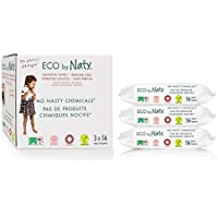 Eco by Naty, Sin fragancia, 168 piezas (3x56 toallitas), Toallitas húmedas compostables hechas a base de fibras vegetales. 0% plastico. Sin productos nocivos.