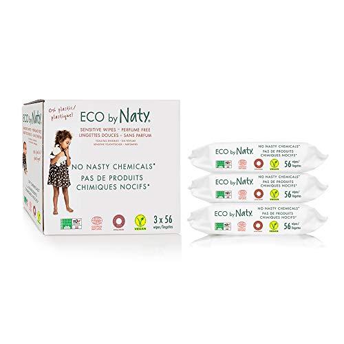 Eco by Naty, Salviettine senza profumo, Salviettine compostabili realizzati con fibre vegetali, 0% di plastica, 0% di sostanze chimiche nocive, 168 pezzi (3x56 salviettine)