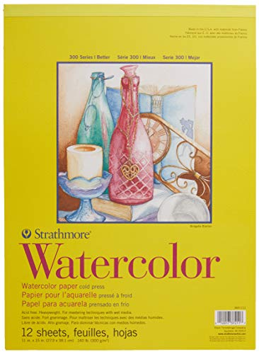 Strathmore 360-111 300 Series Watercolor Pad, 11'x15', White, 12 Sheets