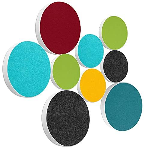 Schallabsorber Set 03 aus Basotect G+® - Ø 55 cm + Ø 40 cm Akustik Elemente Schalldämmung - Multicolore
