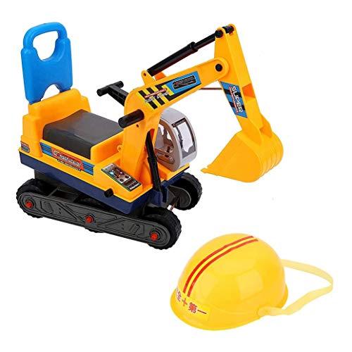 Zeyujie Puede sentarse en una excavadora grande de juguete con un respaldo, los niños viajan en una excavadora, excavadora, vehículo de construcción, juguete, vehículo para niños con casco, excavadora