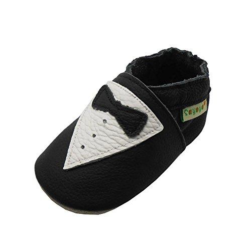 SAYOYO Anzug und Krawatte WeichesLeder Lauflernschuhe Krabbelschuhe Babyschuhe(6-12 Monate,Schwarz)
