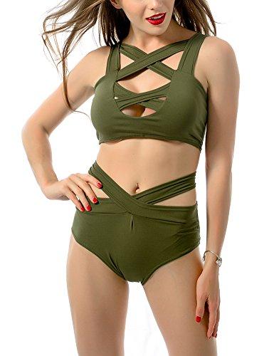 MinYuocom Mujer Retro Push Up Conjunto de Bikini Beachwear Bañador Traje de Baño MZF4607