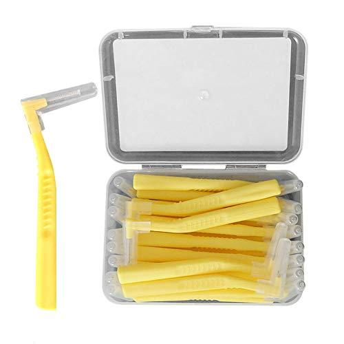 1box Scovolini Dentali Spazzolino interdentale Angolo Spazzolino dentale strumento ortodontico Oral Care angolato spazzola di pulizia L 20pcs sagomati (0,6 millimetri, colore rosa)