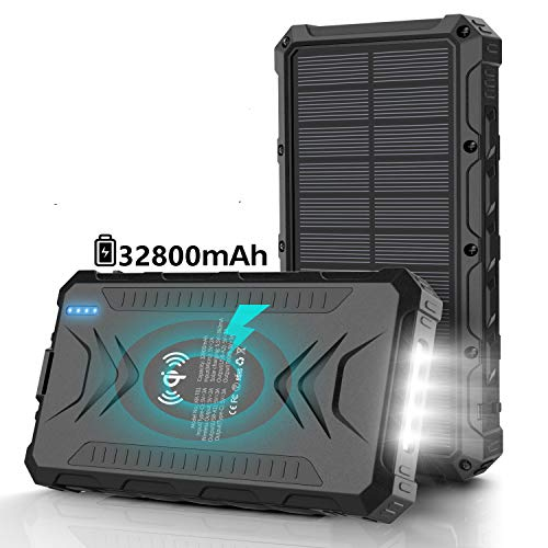Solar Power Bank 32800mAh, Solar Charger, Qi Wireless Charger, Outputs 5V/3A High-Speed & 2 Inputs Huge Capacity Phone Charger for Smartphones, IP66 Rating, Strong Light LED Flashlights (Black)