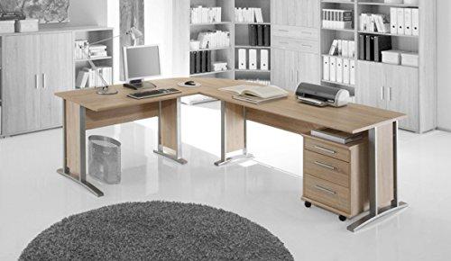 Office Line Winkelkombination Schreibtisch Ecktisch, Material Dekorspanplatte, Eiche sonomafarbig /weiss