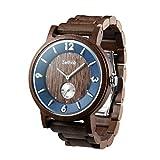 Zeitholz Holzuhr für Herren - Modell Schmiedeberg, handgefertigt aus 100% natürlichem Walnuss mit Quarzwerk - Leichte analoge Uhr mit Holzmaserung für Ihn
