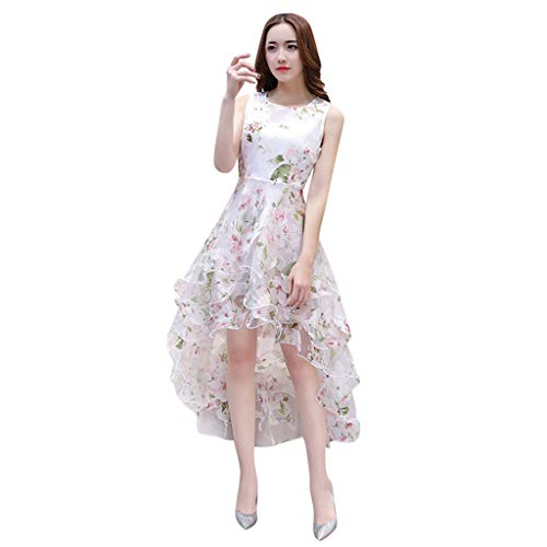 Yunisu Women's Summer Sexy Organza Floral Print O-Neck Sleeveless Knee-Length Wedding Party Ball Prom Gown Cocktail Dress Pink