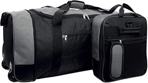 Foldable Travel Bag Wheeled Light Weight Trolly 80Liter Expandable Large Holdall (Black/Grey, One Size)