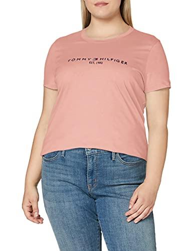 Tommy Hilfiger Th Ess Hilfiger C-nk Reg Tee Ss, Camiseta sin mangas Mujer, Pink, L