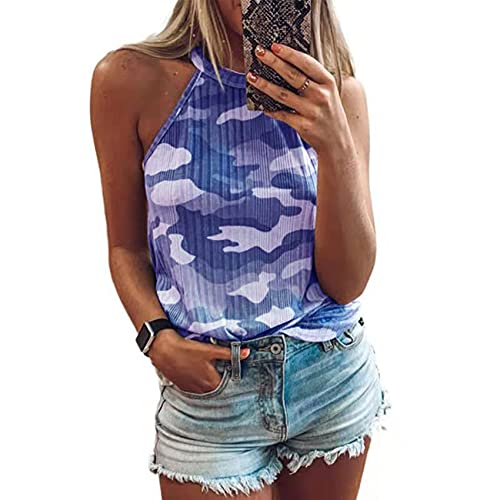 WZXHNYYZYQ Summer Ladies Camouflage Print Sleeveless Halterneck Slim Vest Tops