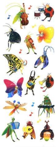 【10枚セット】ラメ入りシール 虫の音楽会 BZR125【ご注文1回につき1個 サン・クロレラ サンプルプレゼント!】