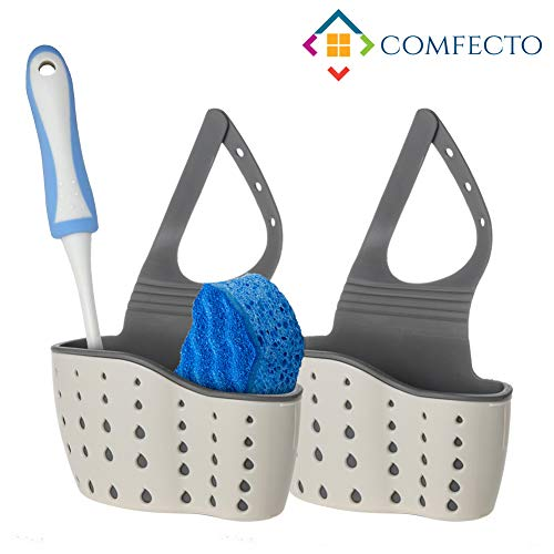 Comfecto Sponge Holder for Sink, 2 pcs Hanging Kitchen Sink Caddy Organizer with Adjustable Strap, Space Saving Sink Sider Faucet for Dish Soap Dishwashing Brush Keeps All in One Place