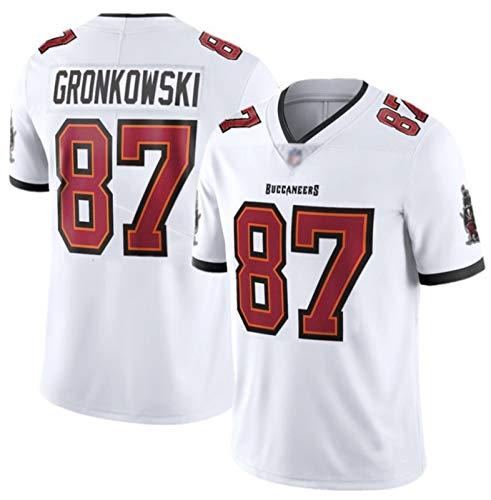 Rob Gronkowski # 87 American Football Trikot Tampa Bay Buccaneers, klassisches Rugby-Trikot Ideal für den Alltag und das Rugby-Spielen White-XL