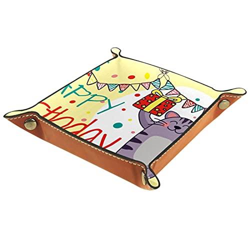 ATOMO Bandeja de almacenamiento de cuero con diseño de gato y gatito, ideal para guardar monedas, organizador de mesita de noche, pequeña bandeja para llaves de teléfono, caja de almacenamiento