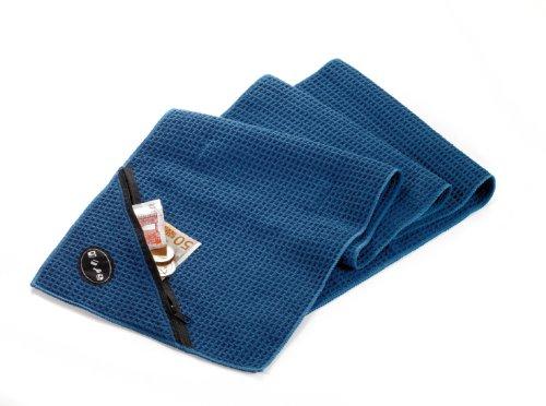 TROIKA Handtuch SCHWITZABLEITER - TWL01/DB - Mikrofaser Workout-Handtuch mit Waffelstruktur - absorbiernd und schnell trocknend - mit integrierter Zip-Tasche - blau - das Original von TROIKA
