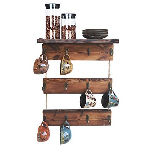 12 Hooks Coffee Cup Holder Solid Wood Mug Rack with Shelf Coffee Bar Mug Display Rustic Kitchen Storage Rack for Farmhouse Decor 3 Tie