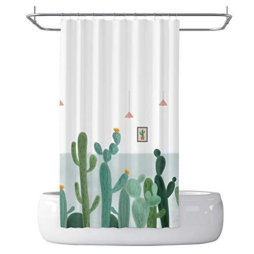 LCHY douchegordijn matrijsbestendig wasbaar badkamergordijn kan in de wasmachine wasbaar Cactus patroon gordijn voor natte kamer inbegrepen haken