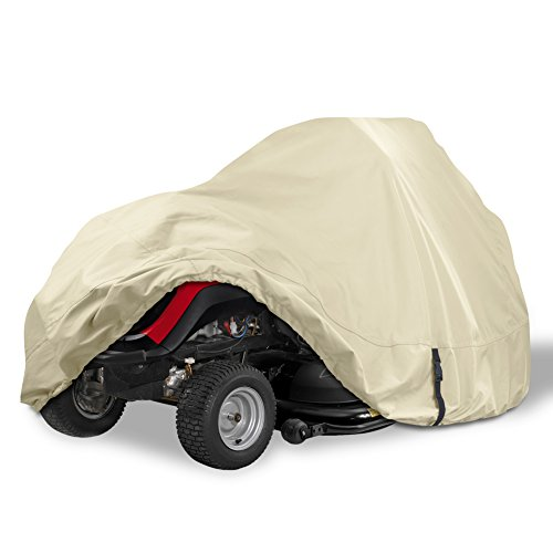 Porch Shield Heavy Duty 600D Polyester Lawn Tractor Cover, Waterproof Universal Riding Lawn Mower Cover (Up to 54 inches Decks, Light Tan)