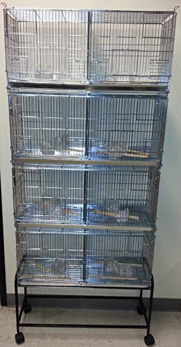 """Mcage Combo: 4 Galvanized Stack and Lock Double Breeder Cage Bird Flight Breeding Cage with Removable Divider and Breeder Doors 4 of 26.5"""" x 11"""" x 15""""H Cages with Rolling Stand Black"""