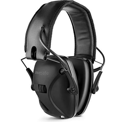 awesafe Elektronischer Ohrenschützer Schuss-Ohrenschutz Geräuschunterdrückung Schallverstärkung elektronische Sicherheits-Ohrenschützer NRR 22 dB,ideal für Schießen und Jagd,Schwarz