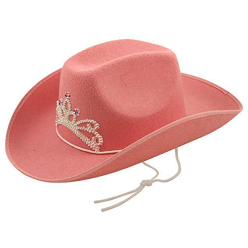 Pink Cowboy Hat with Tiara on Front (gorro/sombrero)