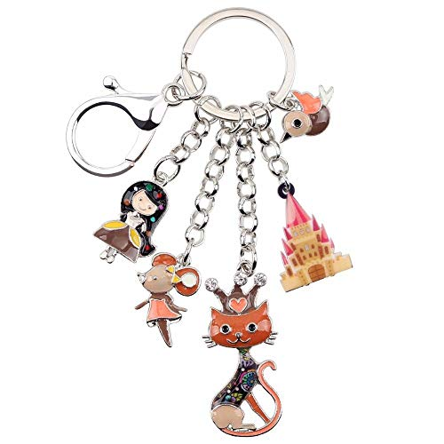 LZHLMCL Keychain Pendantenamel Alloy Queen Cat Bird Mouse Key Chain Keychains Rings Jewelry For Women Girls Gift Handbag Charms Brown