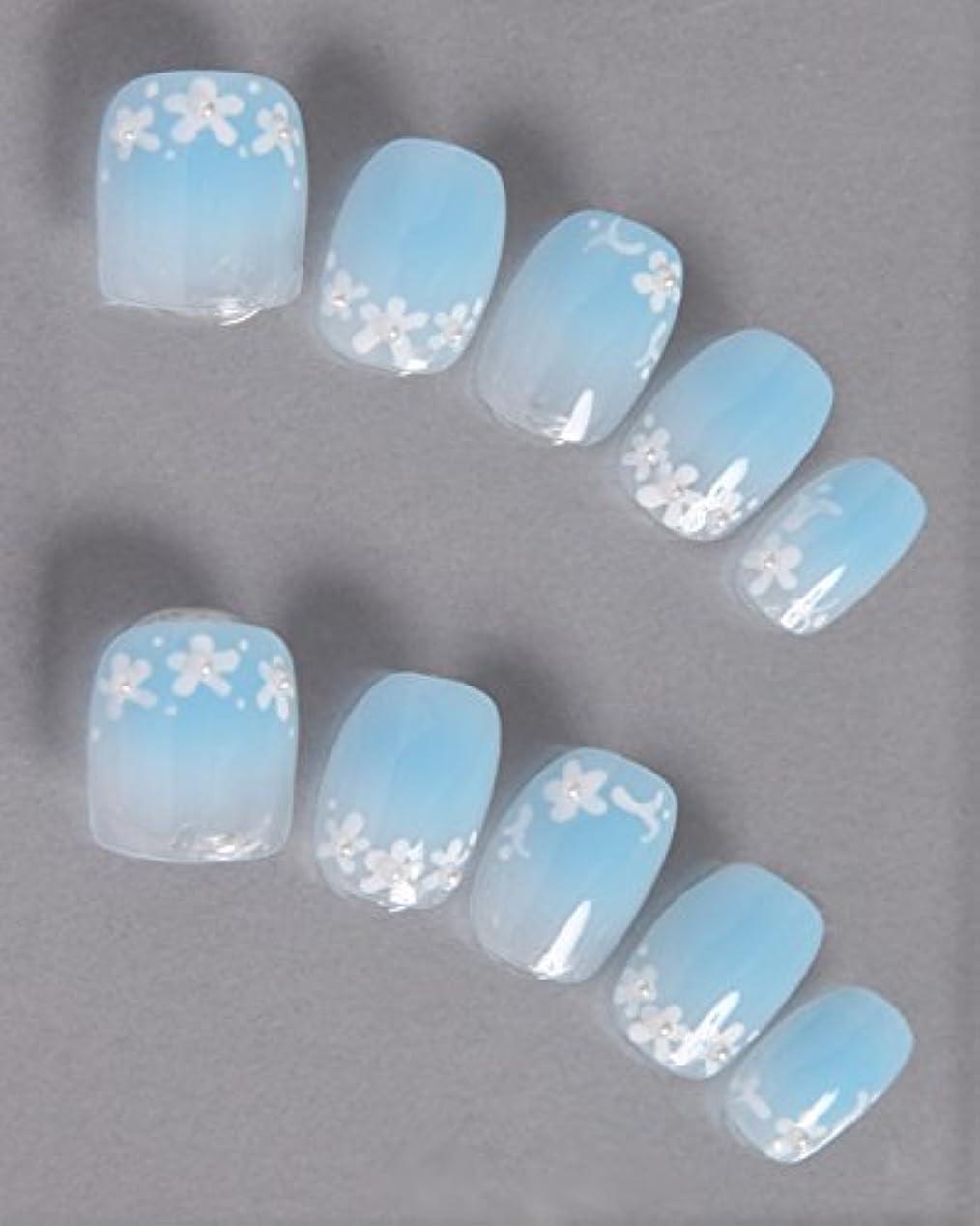 クラシック豊富スクレーパーゆずネイル ネイルチップ 薄ブルー 花 シンプル ガーリー(A10026-Q-CGS)