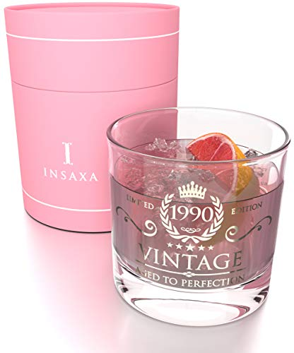30th Birthday Gifts for Women - Vintage 1990 Lowball Glass Tumbler (380ml)