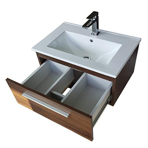 paplinskimoebel Waschtisch mit Unterschrank Granada Waschbeckenschrank Hängend Waschplatz Schublade 60cm (Eiche Dunkel)