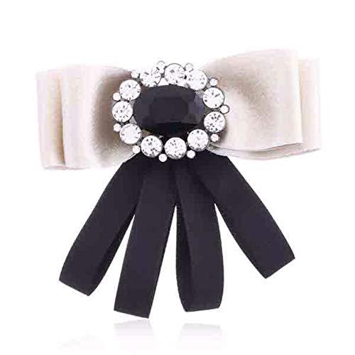 THTHT lint pinnen en broches voor vrouwen grote strik broche pin strass kraag pin voor vrouwen kleding jas rok shirt BEIGE