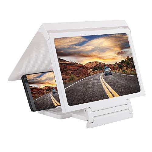Mobiele telefoonstandaard met vergrootglas, videofilms HD-vergrootglas Multifunctionele transparante smartphone 3D-projector Schermhouder Standaard voor alle telefoons Wit
