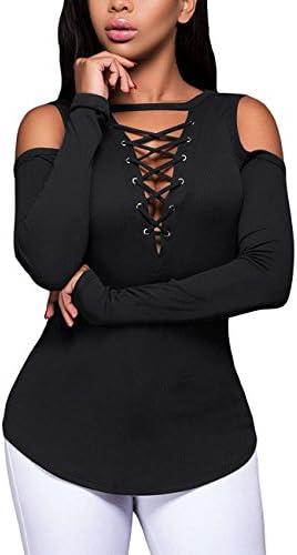 Women s Sexy V Neck Cold Shoulder Long Sleeve Blouse Shirt Black Size Large product image
