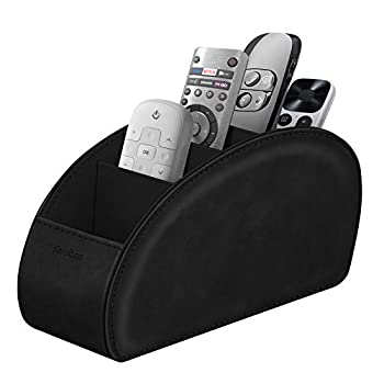 Remote Control Holder with 5 Compartments KENOBEE Anti-slip Desktop Caddy Storage Organizer for Remote Controllers Office Supplies Makeup Brush Media Accessories Black