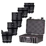 Samyang VDSLR Mk2 - Kit de 5 Lentes con Lentes de vídeo Profesionales de 14 mm, 24 mm, 35 mm, 50 mm y 85 mm para Canon EF