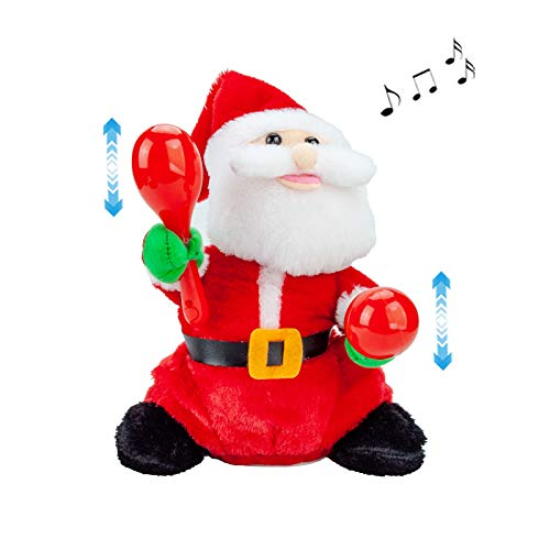 SdeNow Electric Santa Claus, 10'' Musical Santa Rock Stick Santa Claus Singing Dancing Christmas Santa Claus Toys Xmas Electric Dolls Gift