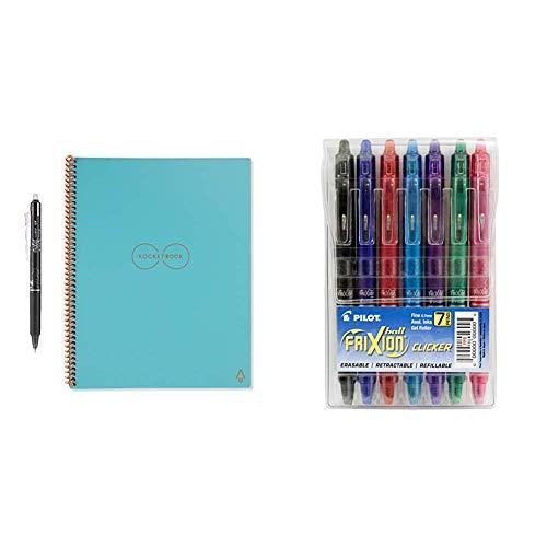 Rocketbook Everlast Smart Reusable Notebook, Letter Size, Neptune Teal Cover, 8.5' x 11' & Pilot FriXion Clicker Retractable Erasable Gel Pens Fine Point (.7) Assorted Color Inks 7-pk