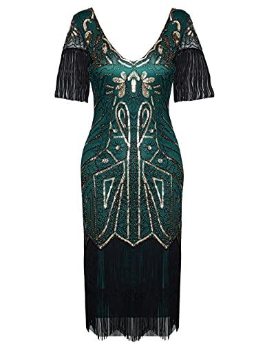 Vestido de mujer de Coucoland de los años 20, con flecos, hasta la rodilla, con lentejuelas, ideal para cóctel y fiestas de disfraces, para mujer Verde oscuro y dorado. M