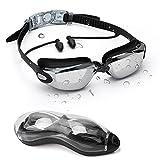 Occhiali da Nuoto con Tappi per Le Orecchie congiunti - HD Professionali Occhialini da Piscina Anti-Appannamento Specchio Protezione UV - Unisex occhialini nuoto bambini, Adolescenti, Donna e Uomo