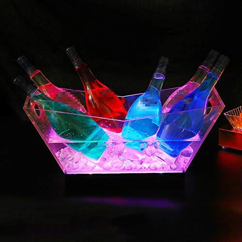 NAY Secchiello del Ghiaccio,Secchiello per Spumante,Portaghiaccio Luminoso Acrilico Trasparente Ricaricabile A LED,per Vino E Champagne,Colorful Light