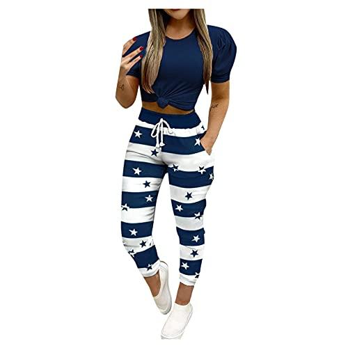 YANFANG Conjunto de Ropa De Dos Piezas,PantalóN Manga Corta Estampado para Mujerconjunto Mujer con Corta, Camiseta, Bolsillos, Pantalones, Conjuntos,Azul Oscuro,M