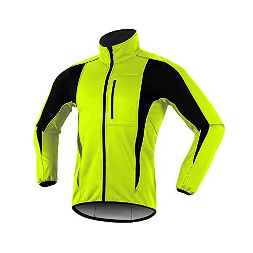 LZQpearl Giacca Ciclismo Uomo, Top da Ciclismo Autunno E Inverno, Cappotto Softshell Riflettente Antivento Impermeabile, Fodera in Pile Termico Traspirante Capispalla Bici (Yellow,M)