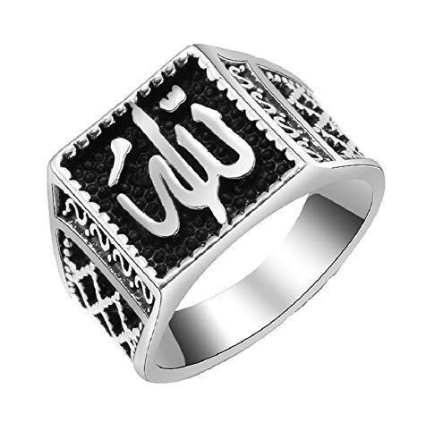 Anillo rectangular de plata Allah Islámica Shahada árabe musulmán religiosa joyería de regalo para hombres – 20 x 25 mm