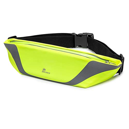 Nacuwa Running Belt, Adjustable Waist Pack - Waterproof Runners Belt for Hiking Fitness - Reflective Waist Bag with 2 Pockets for Women, Men and Fits All iPhone 8/Xs/MAX Galaxy S9/Note9