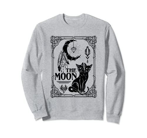 Tarot Card - Tarjeta de luna creciente y gatos negros para Halloween Sudadera