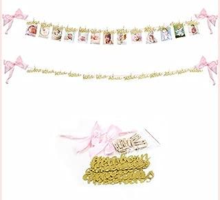 EDBETOS Pink and Gold First Birthday Decorations, Newborn to 12 Months Photo Banner, First Birthday Garland Birthday Decorations for Girls