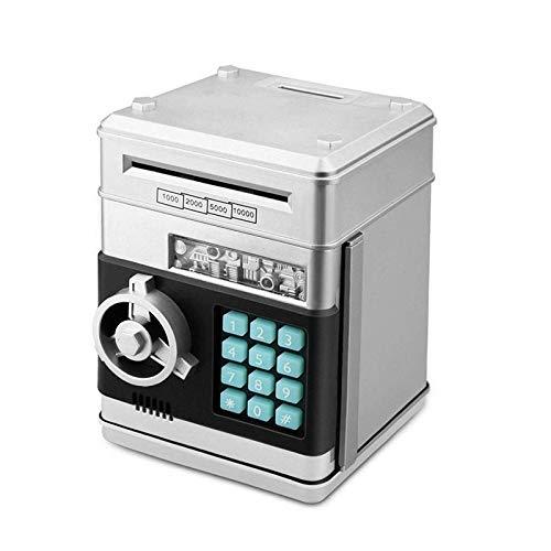 YINGZI Hucha electrónica con contraseña de cajero automático y monedero, caja de ahorro, cajero automático, caja fuerte automática, billete de banco para niños para niños (color: plata)