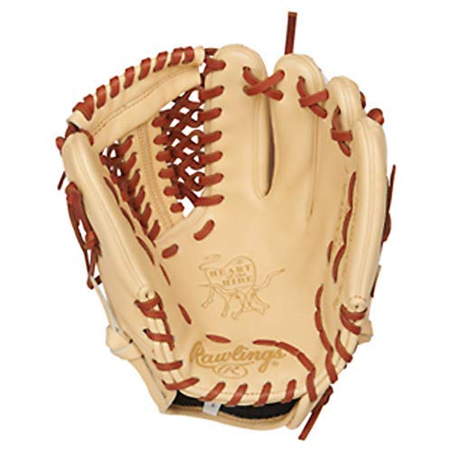 Rawlings Heart of The Hide Baseball Glove, Camel/Tan, 11.75 inch, Mod Trap Web, Left Hand Throw