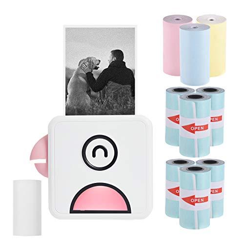 Aibecy mini impresora para movil, Poooli L1 Impresora fotográfica térmica de bolsillo 200ppp Recibo inalámbrico BT portátil con 6rollos de papel térmico autoadhesivo+3rollos de papel térmico de color