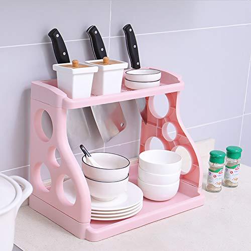 BCXGS Kreatives Gewürzregal, Gewürzhalter Pink, 2 Schichten Desktop Gewürz Organizer Mit Messerhalter Für Speisekammer, Kleiderschrank, Schrank